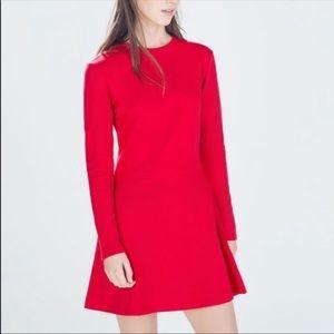 Zara TRF Red Long Sleeve Sweatshirt Dress